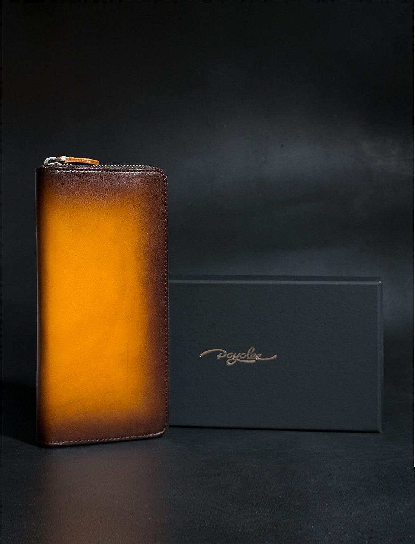 e1388be1cf17 (ポヨリー) POYOLEE 財布 メンズ 長財布 本革 ラウンドファスナー 大容量 人気 黄色